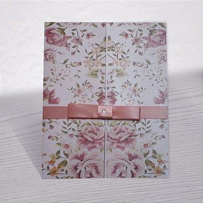 Convite Casamento Floral Rosa Delicada