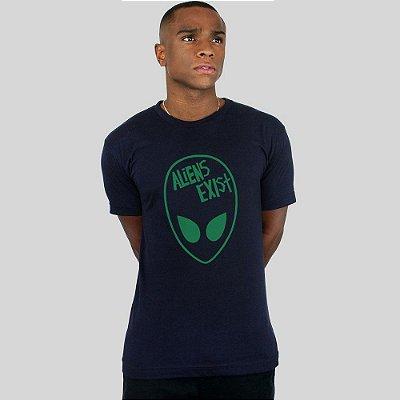 Camiseta Action Clothing Aliens Exist Marinho