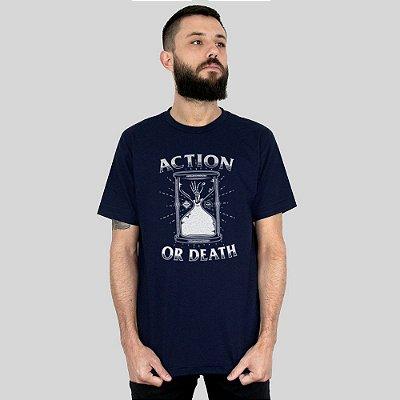 Camiseta Action Clothing Action Or Death Marinho
