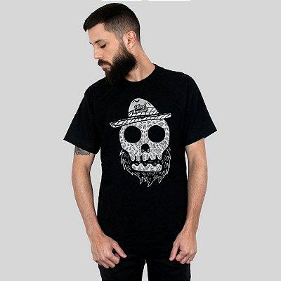 Camiseta Bleed American Beard Skull Preta