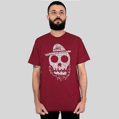 Camiseta Bleed American Beard Skull Vinho