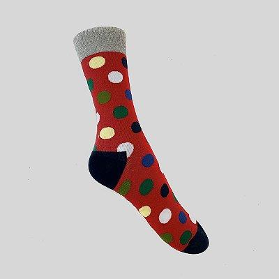 Meia Really Socks Big Dot Vermelho