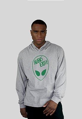 Blusa Action Clothing Aliens Exist Cinza Mescla