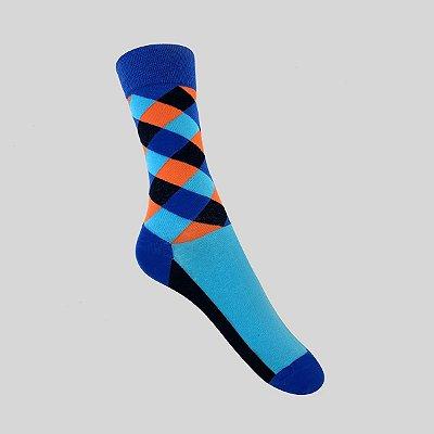 Meia Really Socks Patchwork Marinho