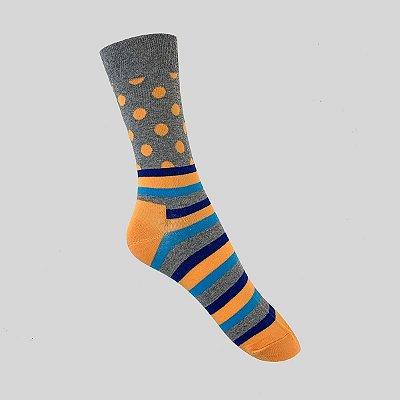 Meia Really Socks Dot Stripe Cinza