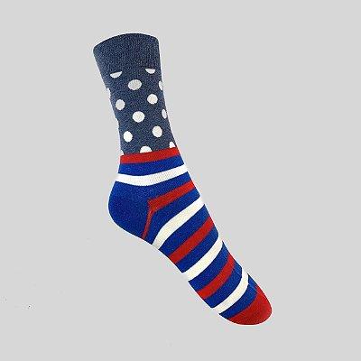 Meia Really Socks Dot Stripe Azul