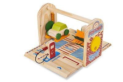 Brinquedo Postinho de Carrinhos em Madeira - NewArt