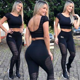 Conjunto Fitness Tule Preto