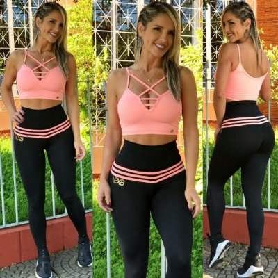 Legging Modeladora Mila Preta /Pêssego