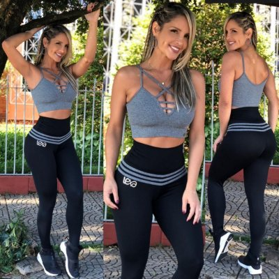 Legging Modeladora  Preta Listras Cinza