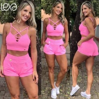 Shorts Rendado Rosa