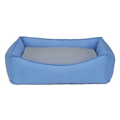 Cama Retangular Carinhosa - Azul e Cinza - Tamanho P