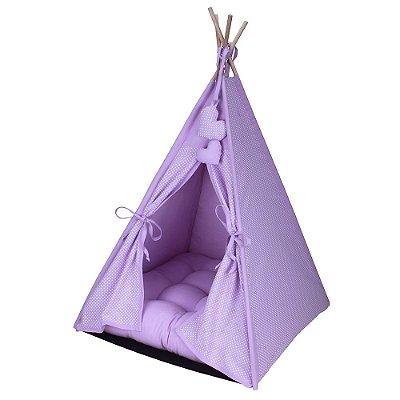 Cabana Camping Pet - Lilás Poá - Tamanho Único