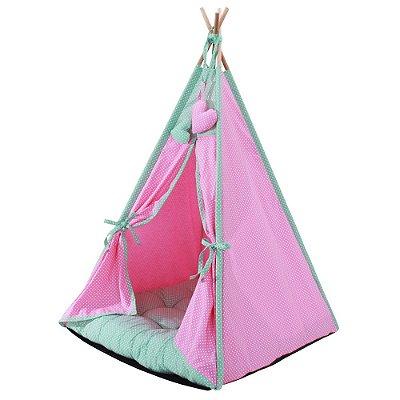 Cabana Camping Pet - Rosa e Verde Poá - Tam Único