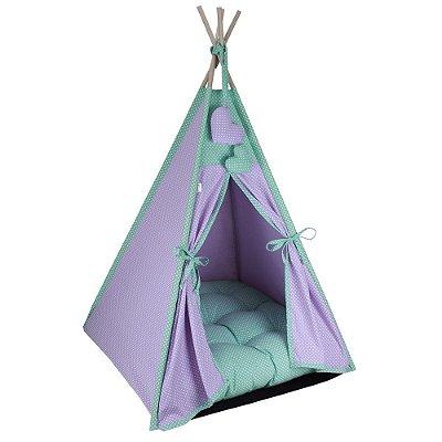 Cabana Camping Pet - Lilás e Verde Poá - Tam Único