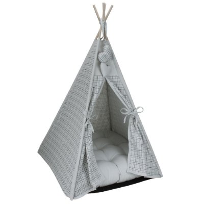 Cabana Camping Pet - Xadrez Prata - Tam Único