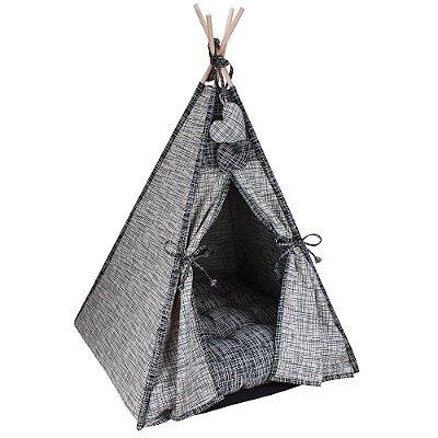 Cabana Camping Pet - Jacquard Riscado Cinza e Preto - Tam Único