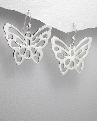 brinco de prata borboleta