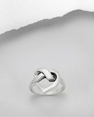 anel de prata coração vazado