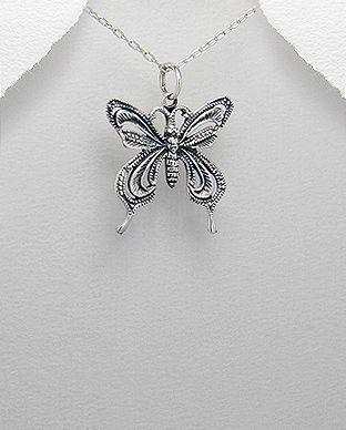 pingente de prata borboleta escurecida
