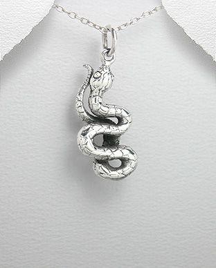 pingente de prata cobra
