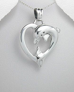 pingente de prata coração golfinho