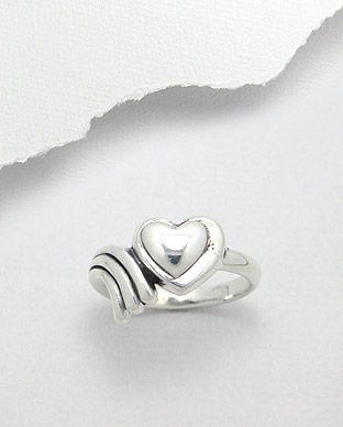 anel de prata coração e ondas