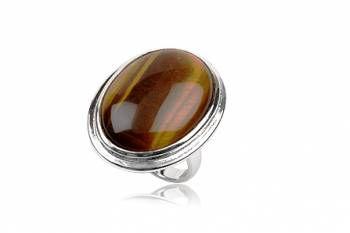 anel de prata e pedra olho de tigre