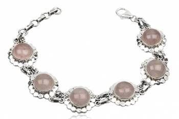 pulseira de prata e quartzo rosa