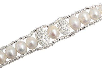 pulseira de prata pérola e cristais larga