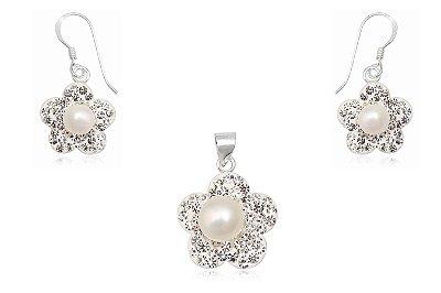 conjunto brincos e pingente de prata e cristais flor