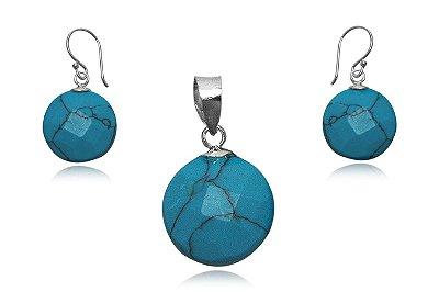 conjunto brincos e pingente de prata com turquesa