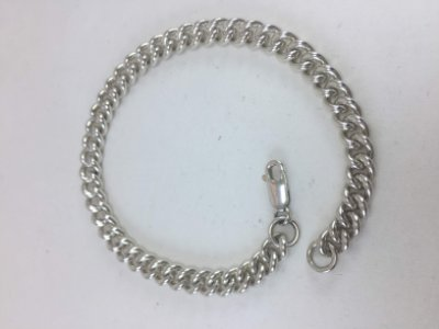 pulseira de prata masculina ou feminina com elos estilo italiana
