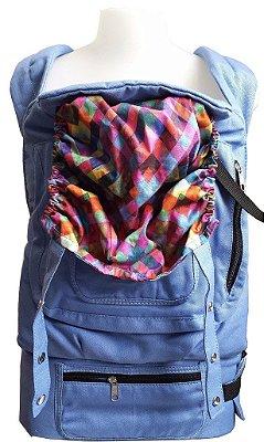 Canguru Ergonômico - Azul com capuz colorido