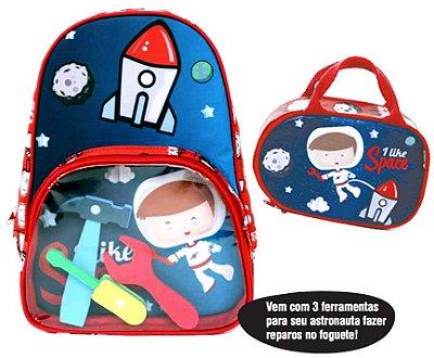 Kit Mochila + Lancheira + Brinquedo Astronauta