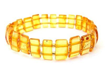 Bracelete de âmbar para adulto square mel polido