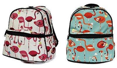 Mochila Infantil Flamingos com bolso térmico