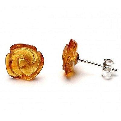Brinco de prata e âmbar flor mel polido