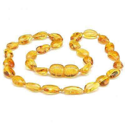 Colar de âmbar para criança olive mel polido
