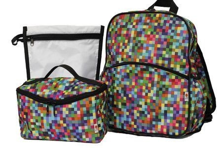 Kit Mochila e lancheira pixel