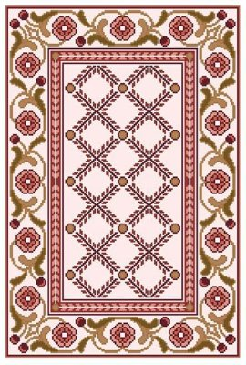 Juta riscada para Tapete Floral Geométrico #37