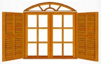 Janela de Madeira Colonial Vidro Veneziana em Angelim Pedra - ref079