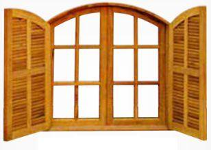 Janela de Madeira Imperial Veneziana Vidro Abrir em Angelim Pedra - ref067