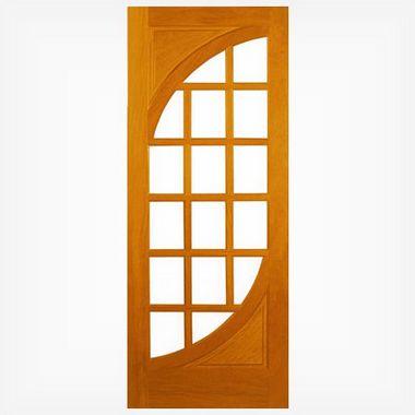 Porta de Madeira e Vidro Quad. em Angelim Pedra - ref020