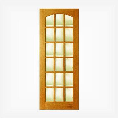 Porta de Madeira Vidro Quadriculado em Angelim Pedra - ref052