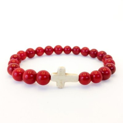 Pulseira de pedra Cross Red Rock