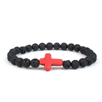 Pulseira de pedra natural Red Cross