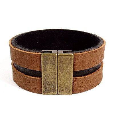 Bracelete de couro duplo