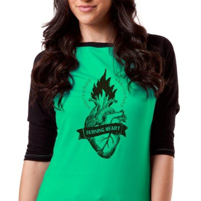 Camiseta fem raglan 3/4 Burning Heart