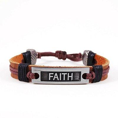 Pulseira de couro Faith Prata